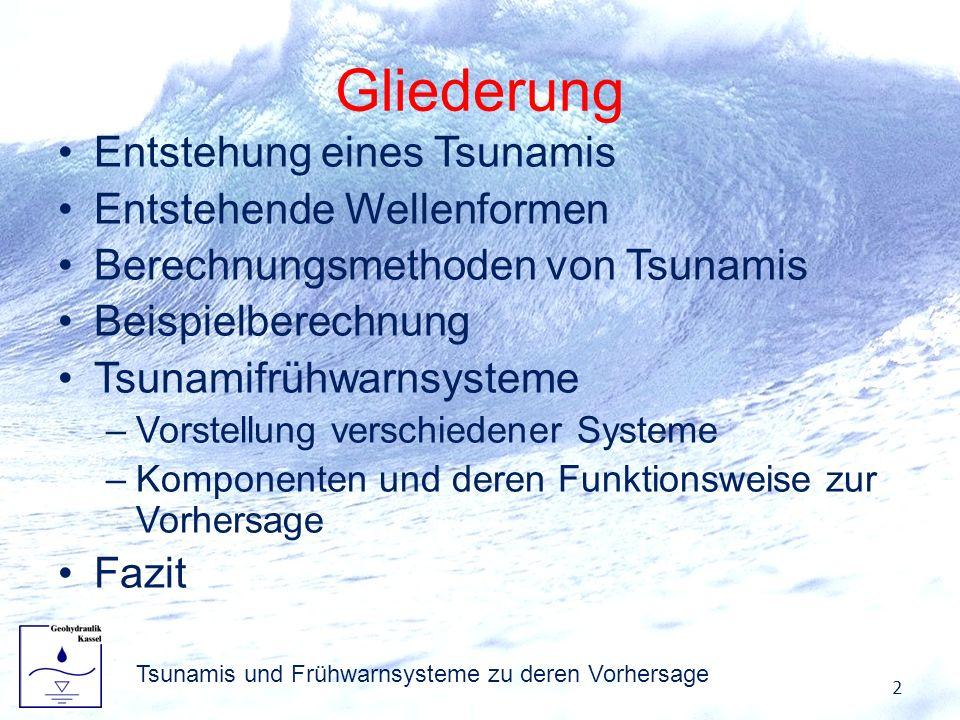 Gliederung Entstehung eines Tsunamis Entstehende Wellenformen Berechnungsmethoden von Tsunamis Beispielberechnung Tsunamifrühwarnsysteme –Vorstellung