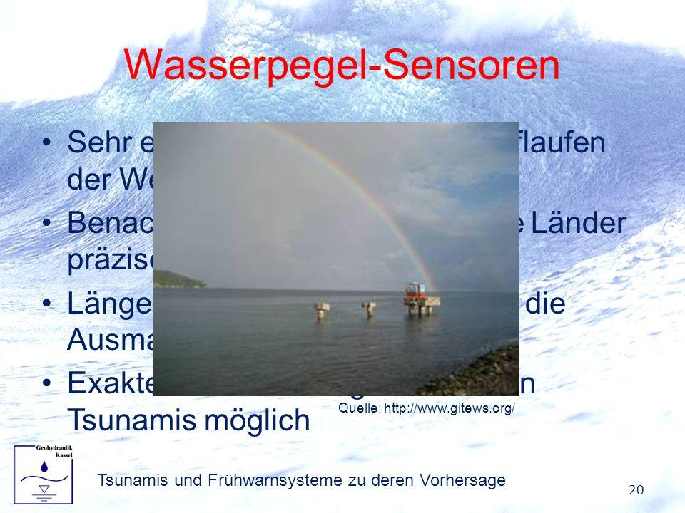 Wasserpegel-Sensoren Sehr exakte Messungen beim Auflaufen der Welle ans Land Benachbarte evtl. auch betroffene Länder präziser warnen Längerfristige R