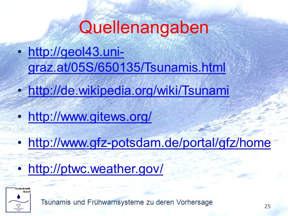 Quellenangaben http://geol43.uni- graz.at/05S/650135/Tsunamis.htmlhttp://geol43.uni- graz.at/05S/650135/Tsunamis.html http://de.wikipedia.org/wiki/Tsu