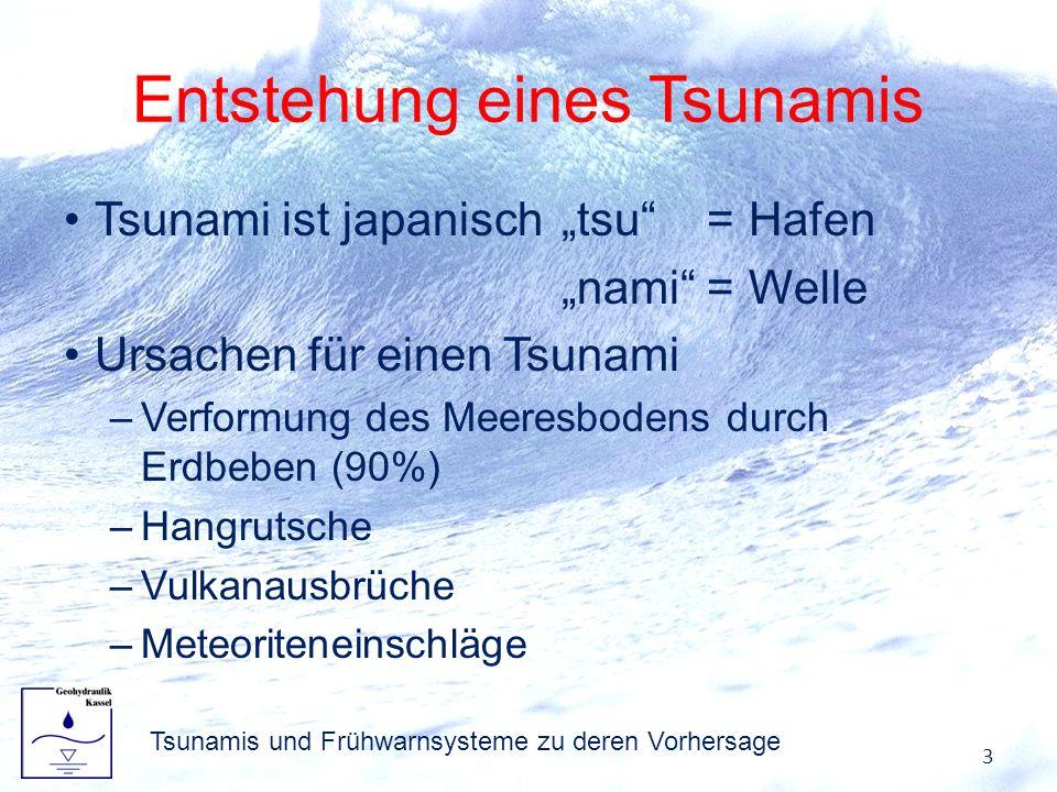 Entstehung eines Tsunamis Tsunami ist japanisch tsu=Hafen nami=Welle Ursachen für einen Tsunami –Verformung des Meeresbodens durch Erdbeben (90%) –Han