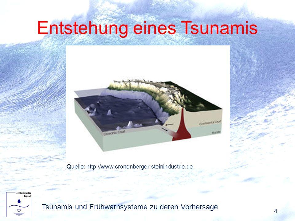 Entstehung eines Tsunamis 4 Tsunamis und Frühwarnsysteme zu deren Vorhersage Quelle: http://www.cronenberger-steinindustrie.de