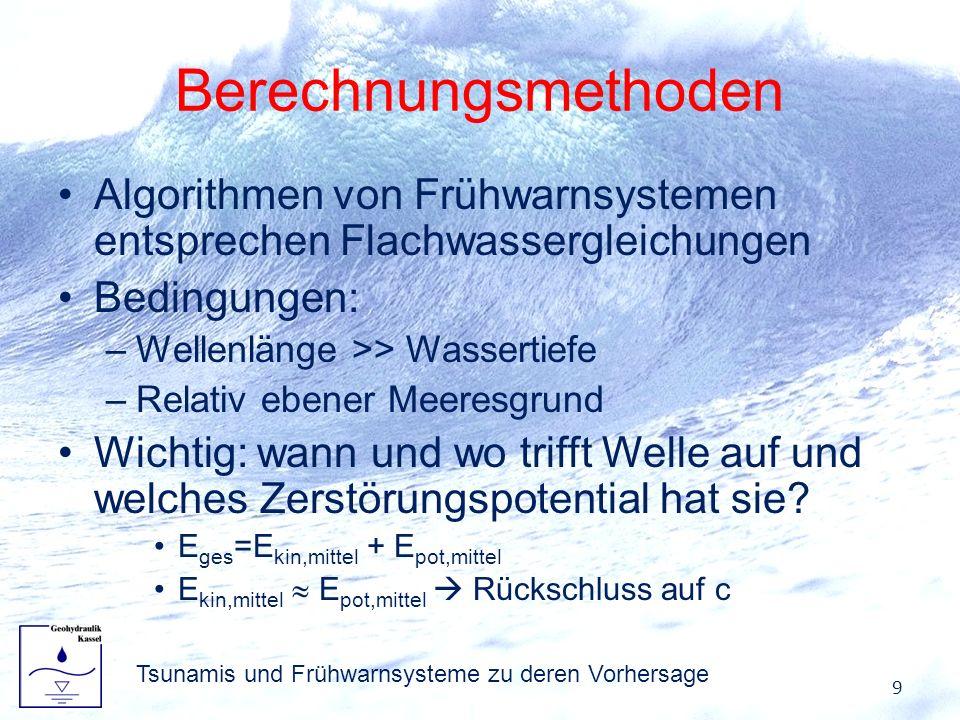 Berechnungsmethoden Algorithmen von Frühwarnsystemen entsprechen Flachwassergleichungen Bedingungen: –Wellenlänge >> Wassertiefe –Relativ ebener Meere