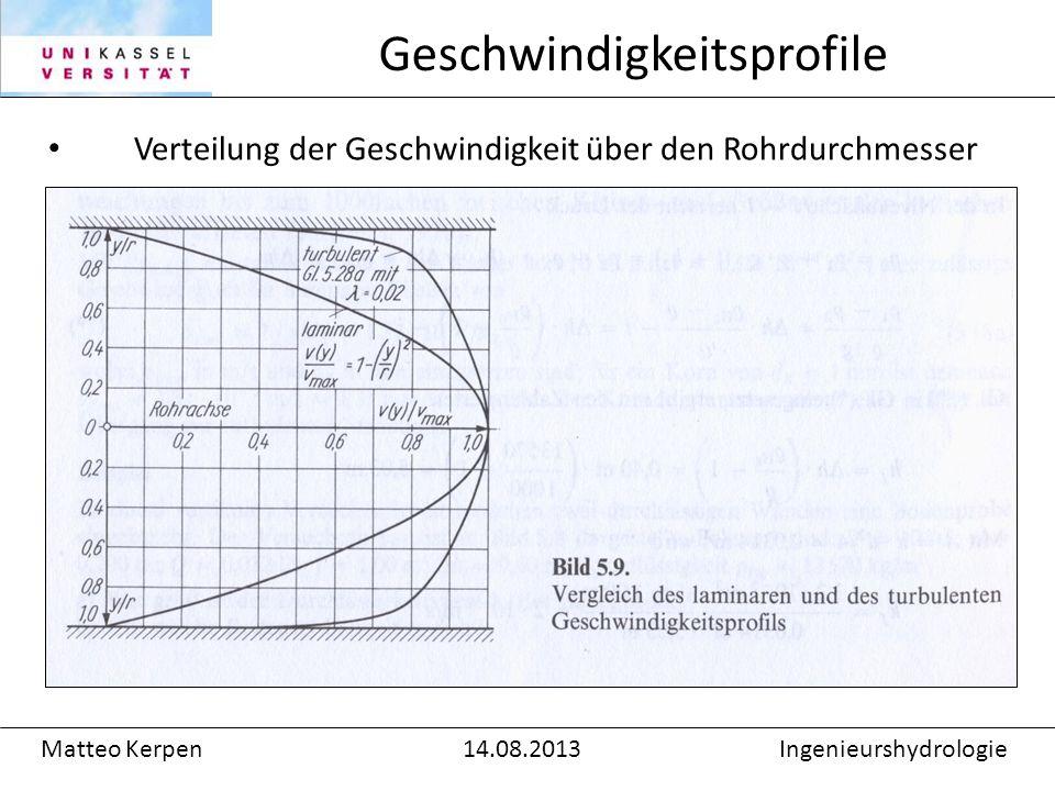 Verteilung der Geschwindigkeit über den Rohrdurchmesser Geschwindigkeitsprofile Matteo Kerpen14.08.2013Ingenieurshydrologie