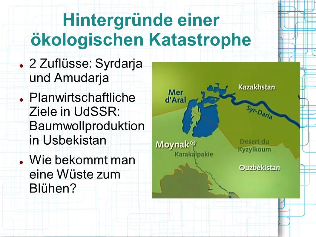 Hintergründe einer ökologischen Katastrophe 2 Zuflüsse: Syrdarja und Amudarja Planwirtschaftliche Ziele in UdSSR: Baumwollproduktion in Usbekistan Wie