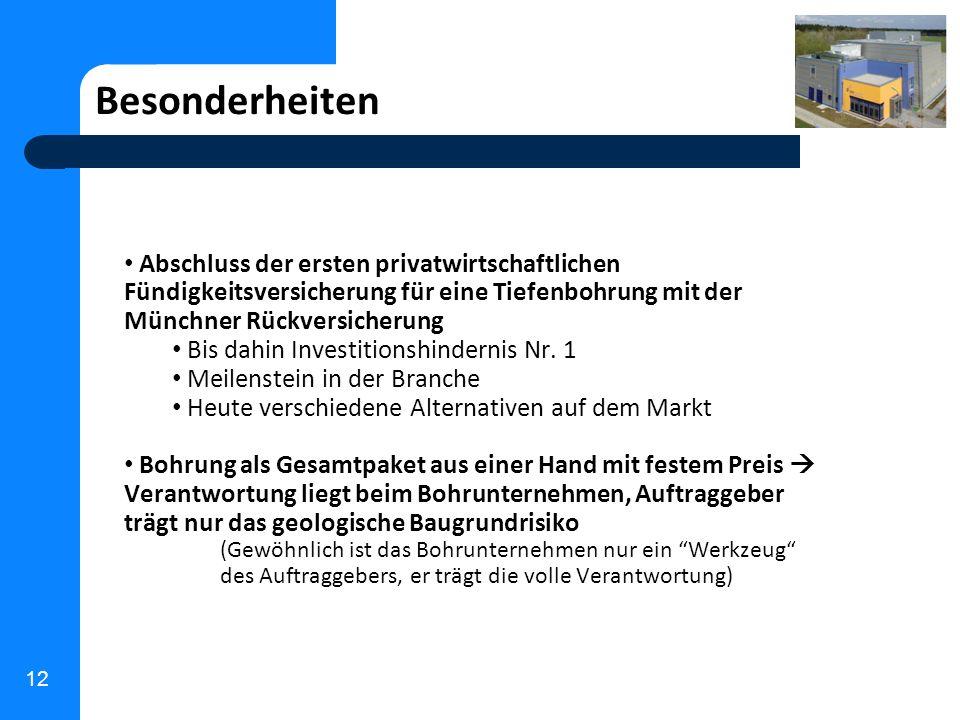 12 Besonderheiten Abschluss der ersten privatwirtschaftlichen Fündigkeitsversicherung für eine Tiefenbohrung mit der Münchner Rückversicherung Bis dah