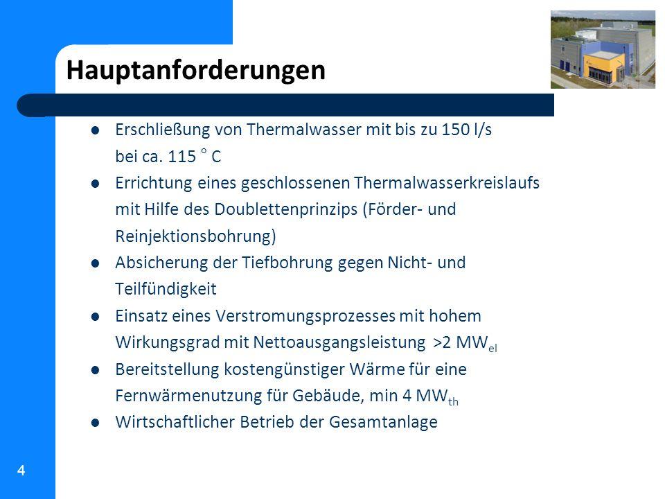 4 Hauptanforderungen Erschließung von Thermalwasser mit bis zu 150 l/s bei ca. 115 ° C Errichtung eines geschlossenen Thermalwasserkreislaufs mit Hilf