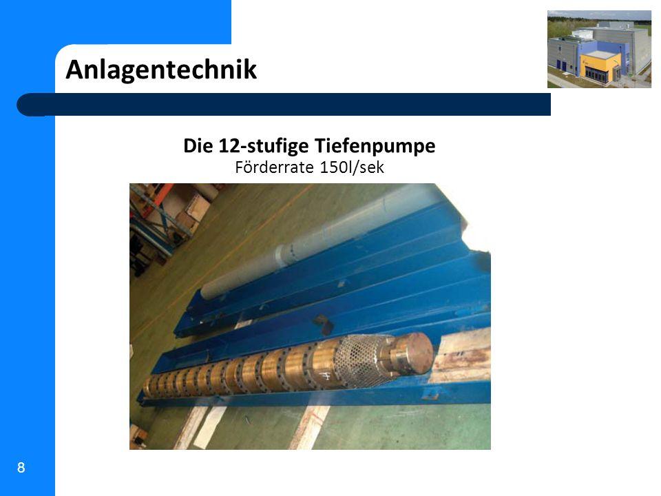 8 Anlagentechnik Die 12-stufige Tiefenpumpe Förderrate 150l/sek
