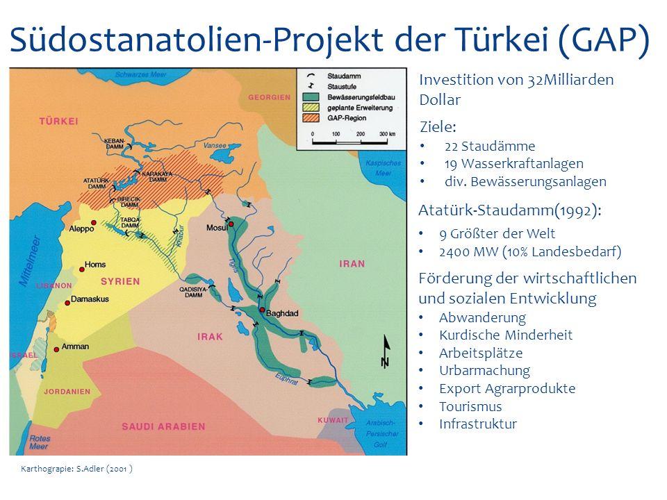Karthograpie: S.Adler (2001 ) Syrien Projekte Tabqa-Talsperre (1973): 800-1000 MW (50% Strombedarfs Syrien) Bewässerung Türkei verhindert optimale Füllung Sommer: Stromabschaltungen Städte wird der Wasserverbrauch eingeschränkt Türkei nicht allein schuld Unkontrollierte Brunnenbohrung Veraltete Bewässerungsanlagen und Techniken Schadhafte Kanalisation Schlechtes Wassermanagment Tabqa-Damm: 1/3 der geplanten Ackerflächen bewässert zusätzlich wird das Grundwasser angezapft