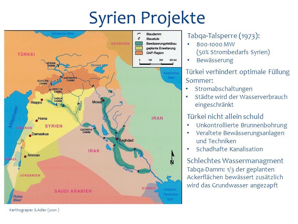 Karthograpie: S.Adler (2001 ) Syrien Projekte Tabqa-Talsperre (1973): 800-1000 MW (50% Strombedarfs Syrien) Bewässerung Türkei verhindert optimale Fül