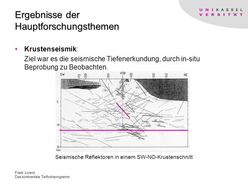 Frank Lorenz Das kontinentale Tiefbohrprogramm Ergebnisse der Hauptforschungsthemen Krustenseismik: Ziel war es die seismische Tiefenerkundung, durch in-situ Beprobung zu Beobachten.