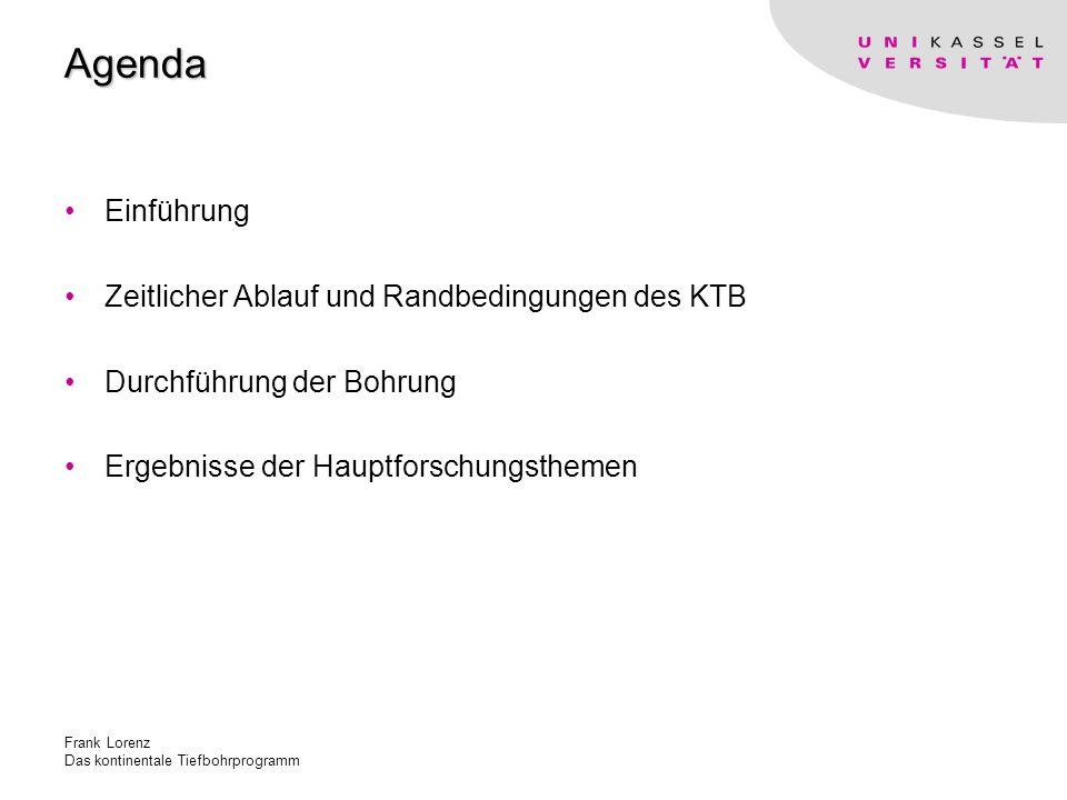 Frank Lorenz Das kontinentale Tiefbohrprogramm Agenda Einführung Zeitlicher Ablauf und Randbedingungen des KTB Durchführung der Bohrung Ergebnisse der Hauptforschungsthemen