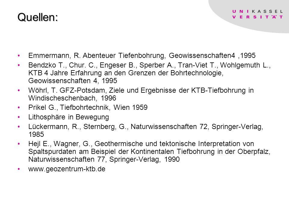 Frank Lorenz Das kontinentale Tiefbohrprogramm Quellen: Emmermann, R.