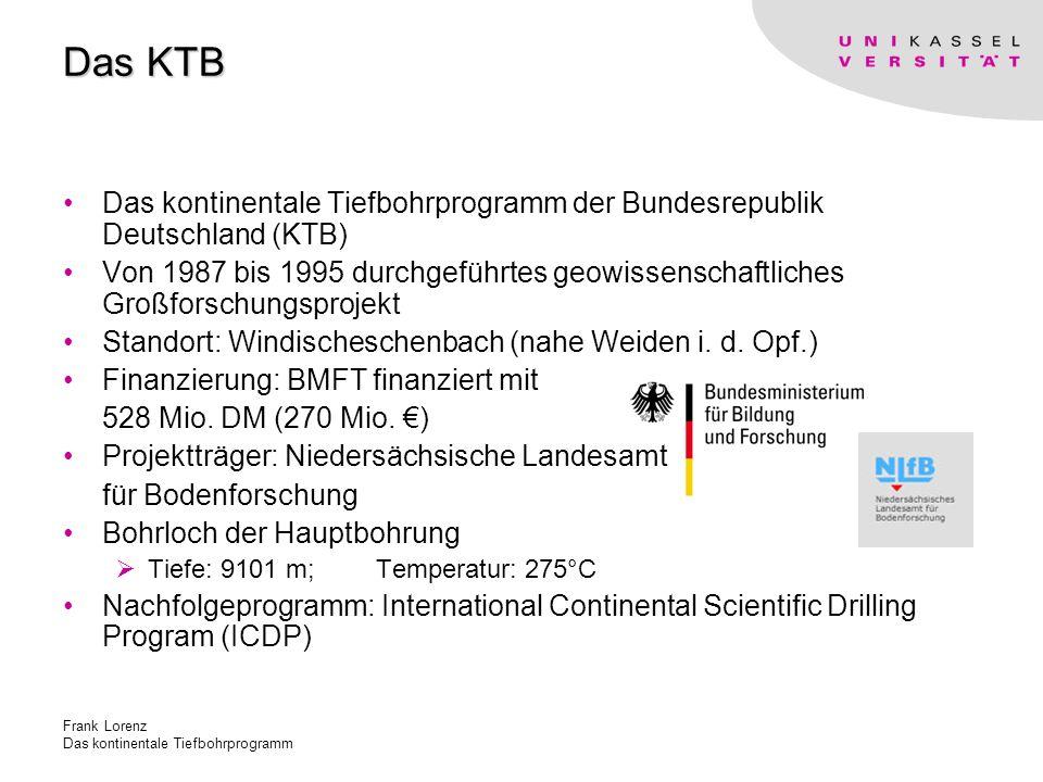 Frank Lorenz Das kontinentale Tiefbohrprogramm Das KTB Das kontinentale Tiefbohrprogramm der Bundesrepublik Deutschland (KTB) Von 1987 bis 1995 durchgeführtes geowissenschaftliches Großforschungsprojekt Standort: Windischeschenbach (nahe Weiden i.