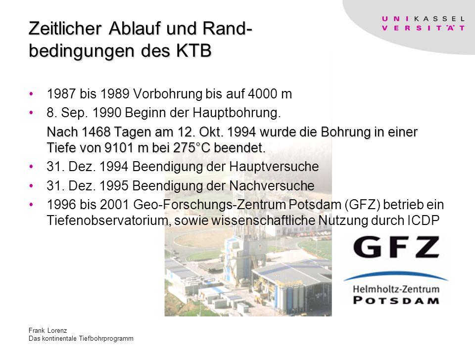 Frank Lorenz Das kontinentale Tiefbohrprogramm Zeitlicher Ablauf und Rand- bedingungen des KTB 1987 bis 1989 Vorbohrung bis auf 4000 m 8.