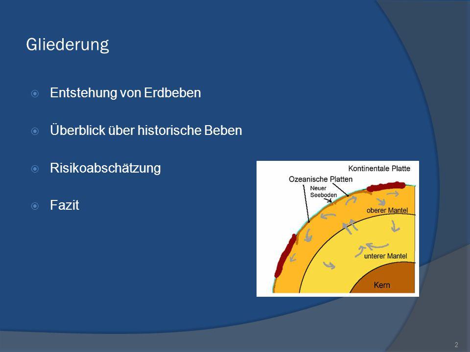 Gliederung Entstehung von Erdbeben Überblick über historische Beben Risikoabschätzung Fazit 2