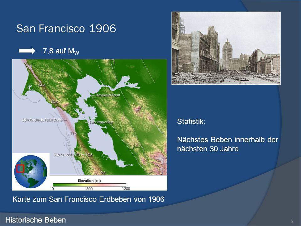 San Francisco 1906 9 Historische Beben Statistik: Nächstes Beben innerhalb der nächsten 30 Jahre Karte zum San Francisco Erdbeben von 1906 7,8 auf M W