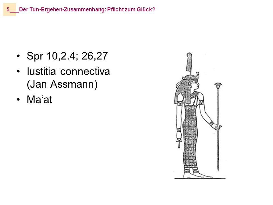 _Der Tun-Ergehen-Zusammenhang: Pflicht zum Glück?5__ Spr 10,2.4; 26,27 Iustitia connectiva (Jan Assmann) Maat