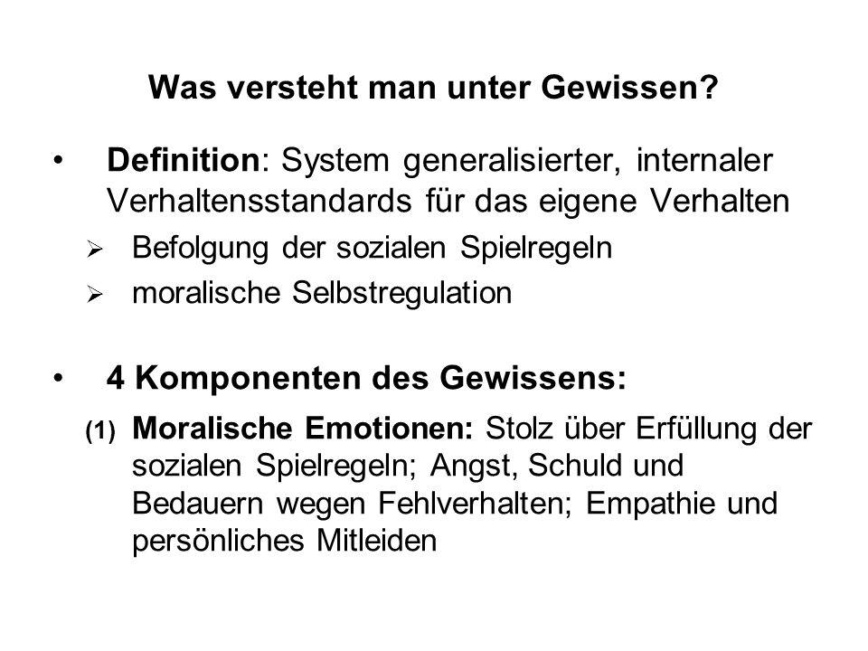 Was versteht man unter Gewissen? Definition: System generalisierter, internaler Verhaltensstandards für das eigene Verhalten Befolgung der sozialen Sp