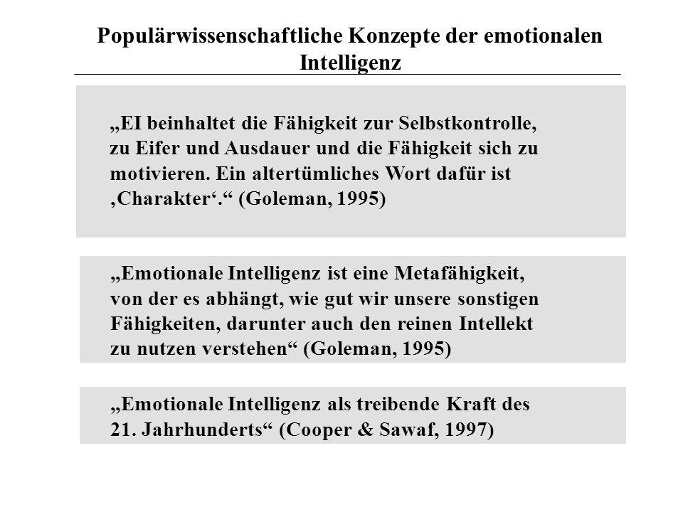 Populärwissenschaftliche Konzepte der emotionalen Intelligenz EI beinhaltet die Fähigkeit zur Selbstkontrolle, zu Eifer und Ausdauer und die Fähigkeit