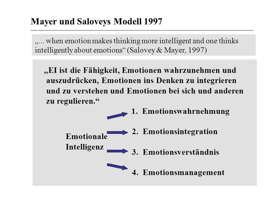 EI ist die Fähigkeit, Emotionen wahrzunehmen und auszudrücken, Emotionen ins Denken zu integrieren und zu verstehen und Emotionen bei sich und anderen