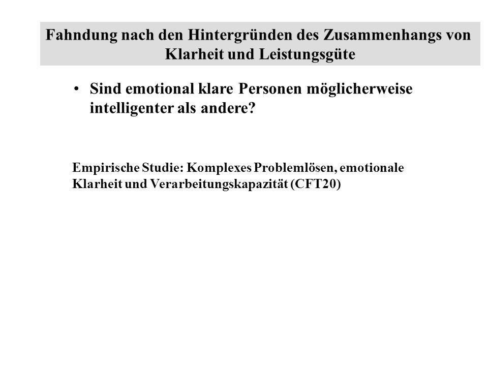 Sind emotional klare Personen möglicherweise intelligenter als andere? Empirische Studie: Komplexes Problemlösen, emotionale Klarheit und Verarbeitung