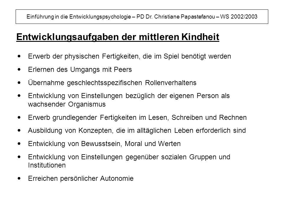 Einführung in die Entwicklungspsychologie – PD Dr. Christiane Papastefanou – WS 2002/2003 Entwicklungsaufgaben der mittleren Kindheit Erwerb der physi