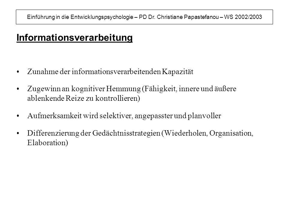 Einführung in die Entwicklungspsychologie – PD Dr. Christiane Papastefanou – WS 2002/2003 Informationsverarbeitung Zunahme der informationsverarbeiten