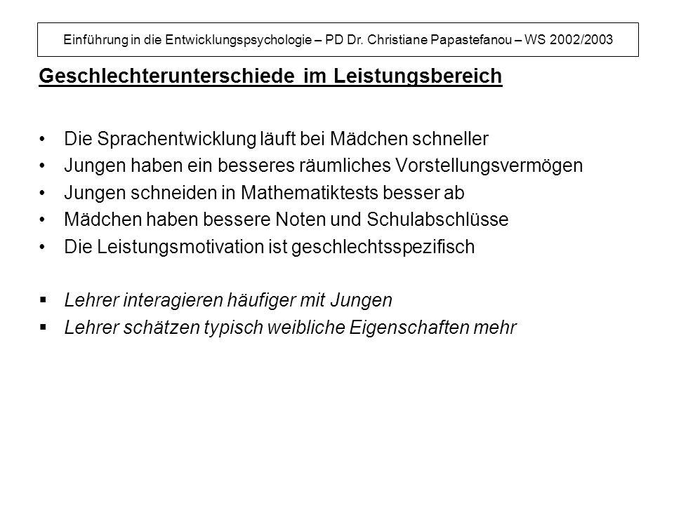 Einführung in die Entwicklungspsychologie – PD Dr. Christiane Papastefanou – WS 2002/2003 Geschlechterunterschiede im Leistungsbereich Die Sprachentwi