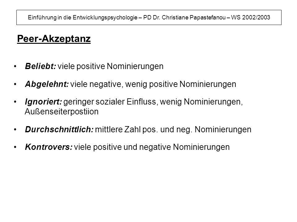 Einführung in die Entwicklungspsychologie – PD Dr. Christiane Papastefanou – WS 2002/2003 Peer-Akzeptanz Beliebt: viele positive Nominierungen Abgeleh