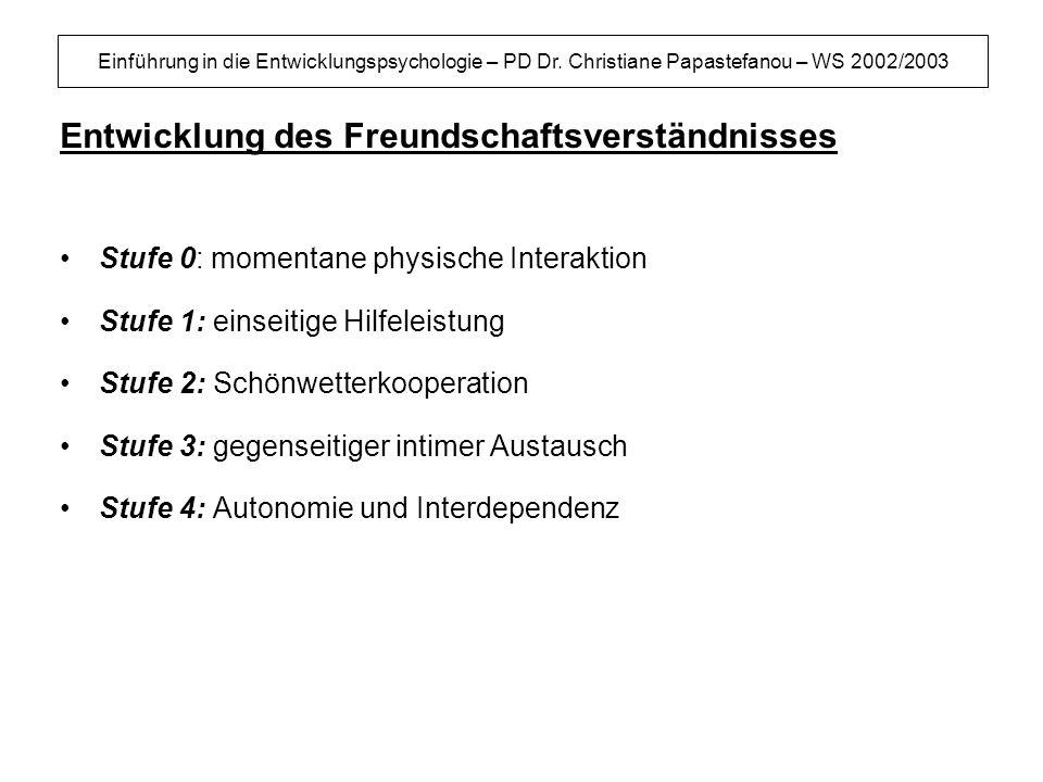 Einführung in die Entwicklungspsychologie – PD Dr. Christiane Papastefanou – WS 2002/2003 Entwicklung des Freundschaftsverständnisses Stufe 0: momenta