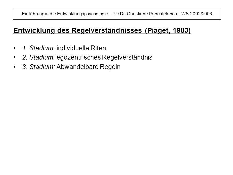 Einführung in die Entwicklungspsychologie – PD Dr. Christiane Papastefanou – WS 2002/2003 Entwicklung des Regelverständnisses (Piaget, 1983) 1. Stadiu