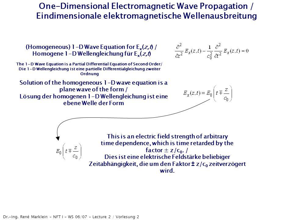 Dr.-Ing. René Marklein - NFT I - WS 06/07 - Lecture 2 / Vorlesung 2 One-Dimensional Electromagnetic Wave Propagation / Eindimensionale elektromagnetis
