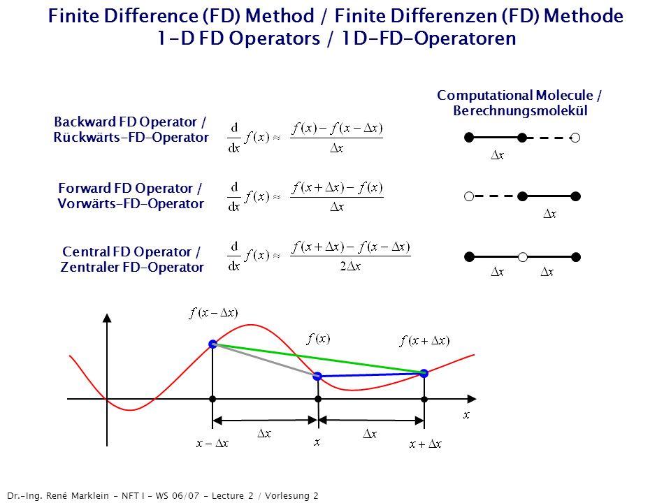 Dr.-Ing. René Marklein - NFT I - WS 06/07 - Lecture 2 / Vorlesung 2 Finite Difference (FD) Method / Finite Differenzen (FD) Methode 1-D FD Operators /