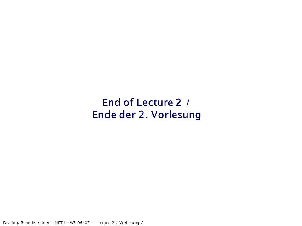 Dr.-Ing. René Marklein - NFT I - WS 06/07 - Lecture 2 / Vorlesung 2 End of Lecture 2 / Ende der 2. Vorlesung