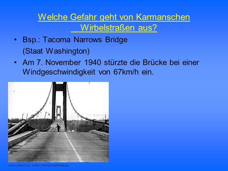 Bsp.: Tacoma Narrows Bridge (Staat Washington) Am 7. November 1940 stürzte die Brücke bei einer Windgeschwindigkeit von 67km/h ein. Welche Gefahr geht
