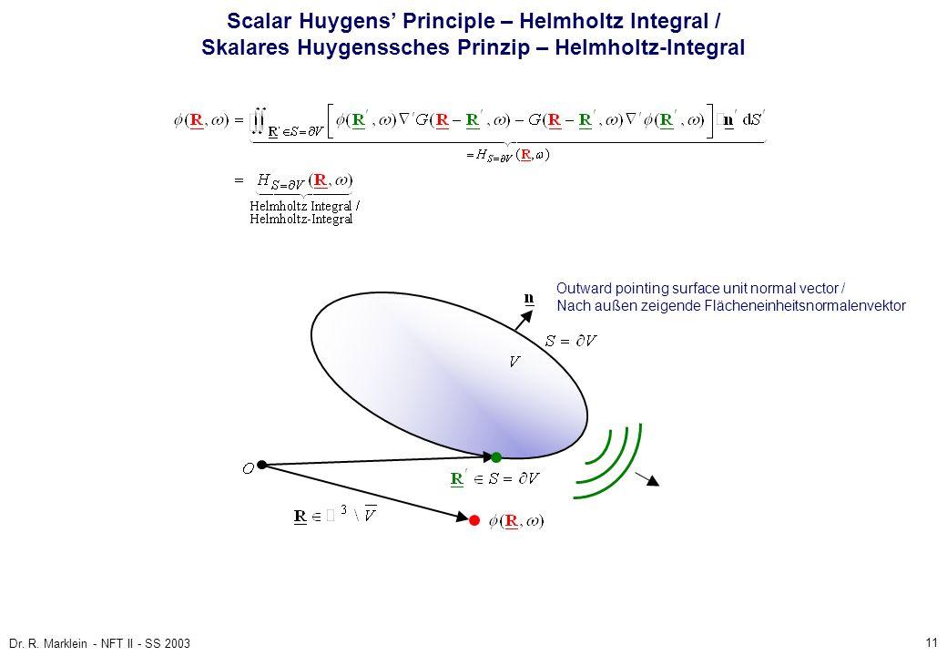11 Dr. R. Marklein - NFT II - SS 2003 Scalar Huygens Principle – Helmholtz Integral / Skalares Huygenssches Prinzip – Helmholtz-Integral Outward point