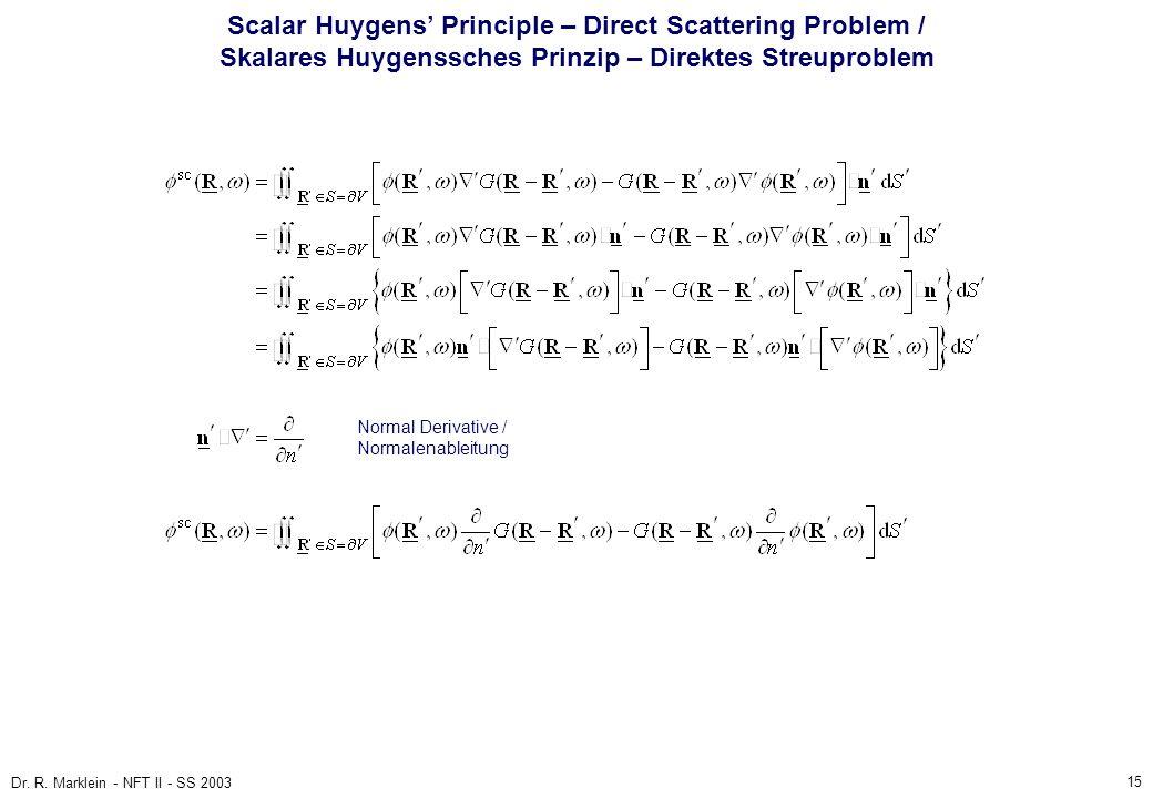15 Dr. R. Marklein - NFT II - SS 2003 Scalar Huygens Principle – Direct Scattering Problem / Skalares Huygenssches Prinzip – Direktes Streuproblem Nor