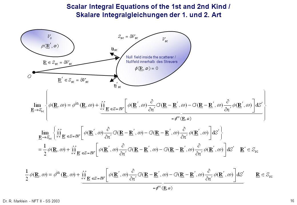 16 Dr. R. Marklein - NFT II - SS 2003 Scalar Integral Equations of the 1st and 2nd Kind / Skalare Integralgleichungen der 1. und 2. Art Null field ins
