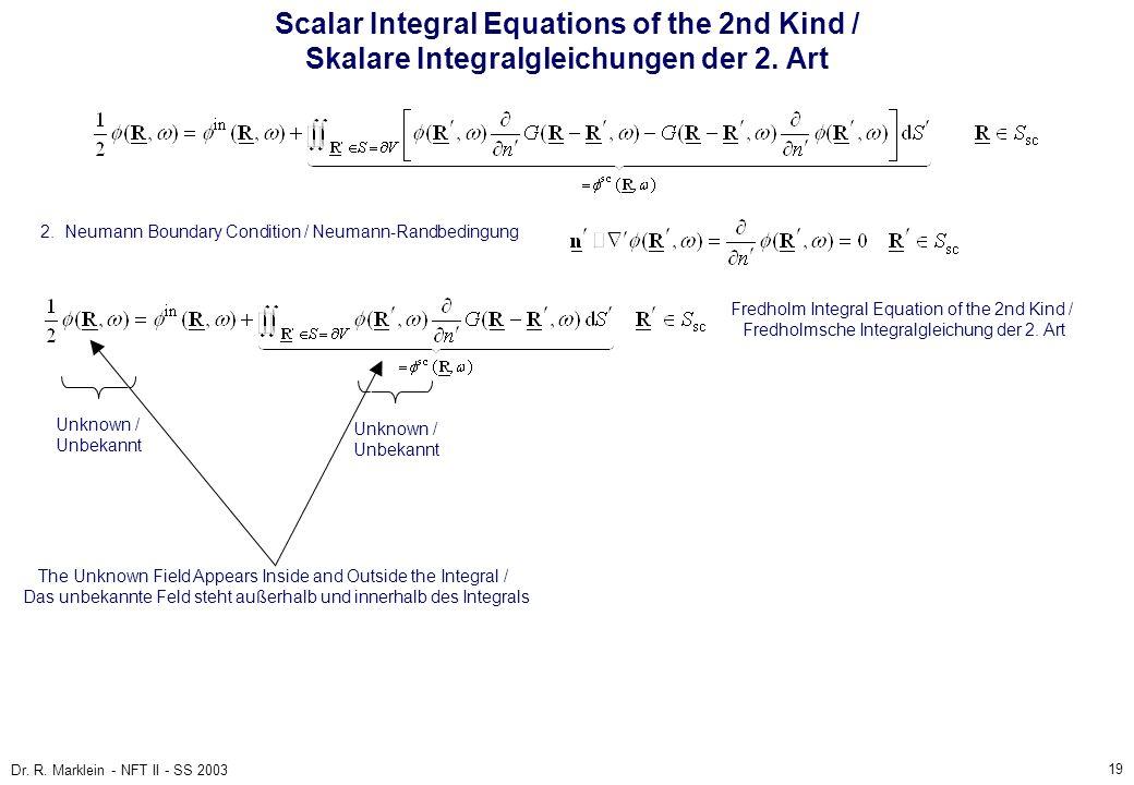 19 Dr. R. Marklein - NFT II - SS 2003 Scalar Integral Equations of the 2nd Kind / Skalare Integralgleichungen der 2. Art 2. Neumann Boundary Condition