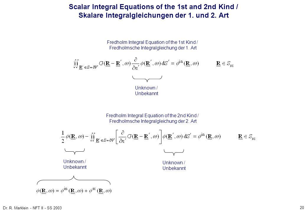 20 Dr. R. Marklein - NFT II - SS 2003 Scalar Integral Equations of the 1st and 2nd Kind / Skalare Integralgleichungen der 1. und 2. Art Fredholm Integ