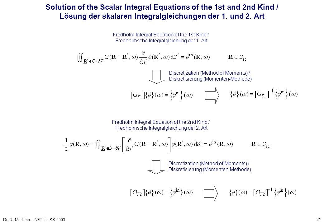 21 Dr. R. Marklein - NFT II - SS 2003 Solution of the Scalar Integral Equations of the 1st and 2nd Kind / Lösung der skalaren Integralgleichungen der