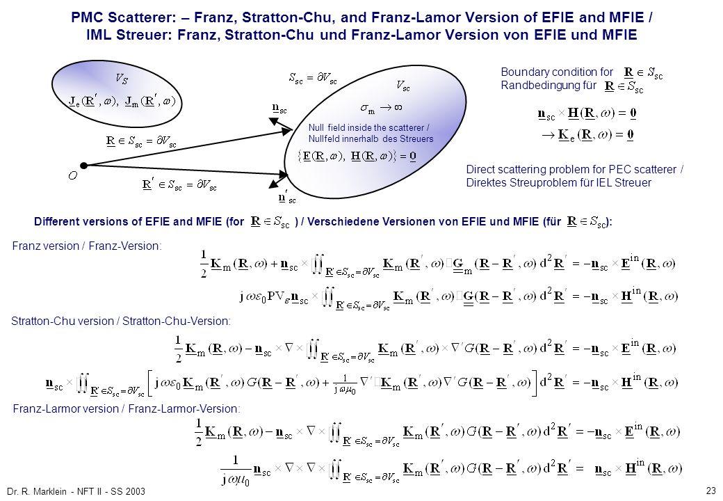 23 Dr. R. Marklein - NFT II - SS 2003 PMC Scatterer: – Franz, Stratton-Chu, and Franz-Lamor Version of EFIE and MFIE / IML Streuer: Franz, Stratton-Ch