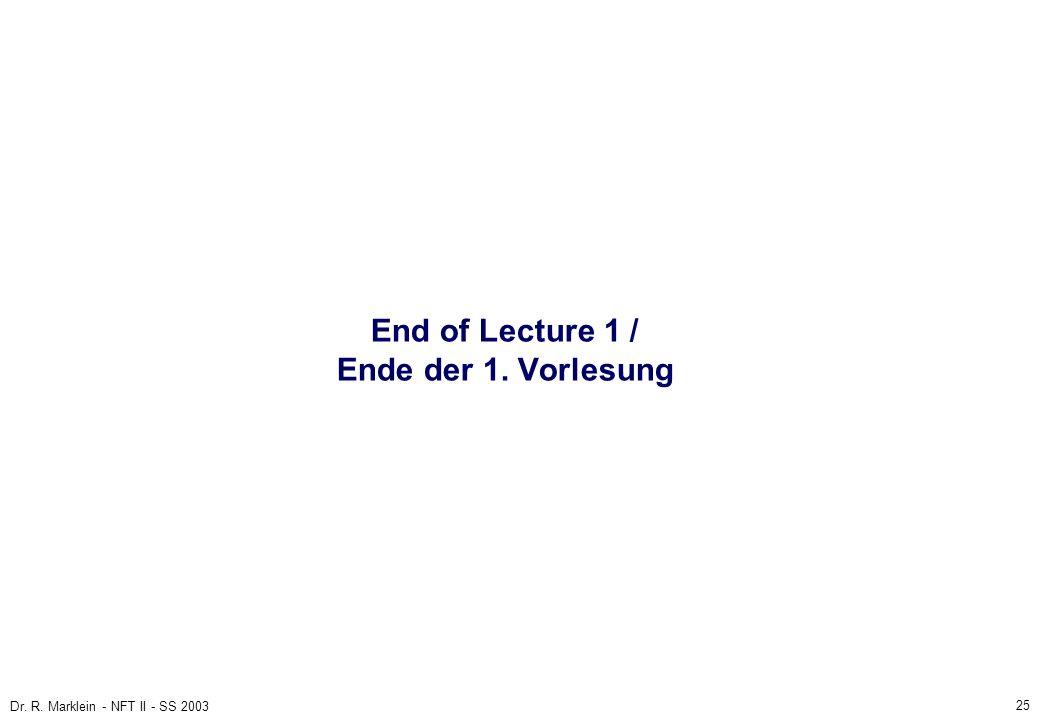 25 Dr. R. Marklein - NFT II - SS 2003 End of Lecture 1 / Ende der 1. Vorlesung