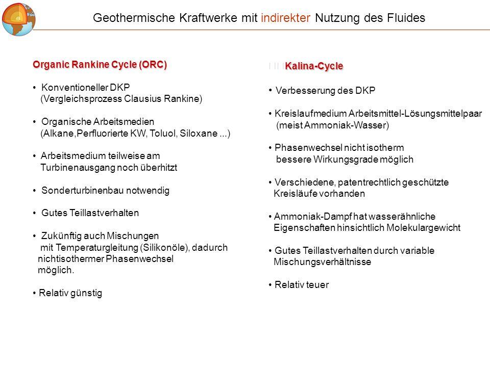 Organic Rankine Cycle (ORC) Konventioneller DKP (Vergleichsprozess Clausius Rankine) Organische Arbeitsmedien (Alkane,Perfluorierte KW, Toluol, Siloxa