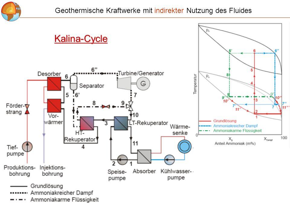 Kalina-Cycle Geothermische Kraftwerke mit indirekter Nutzung des Fluides