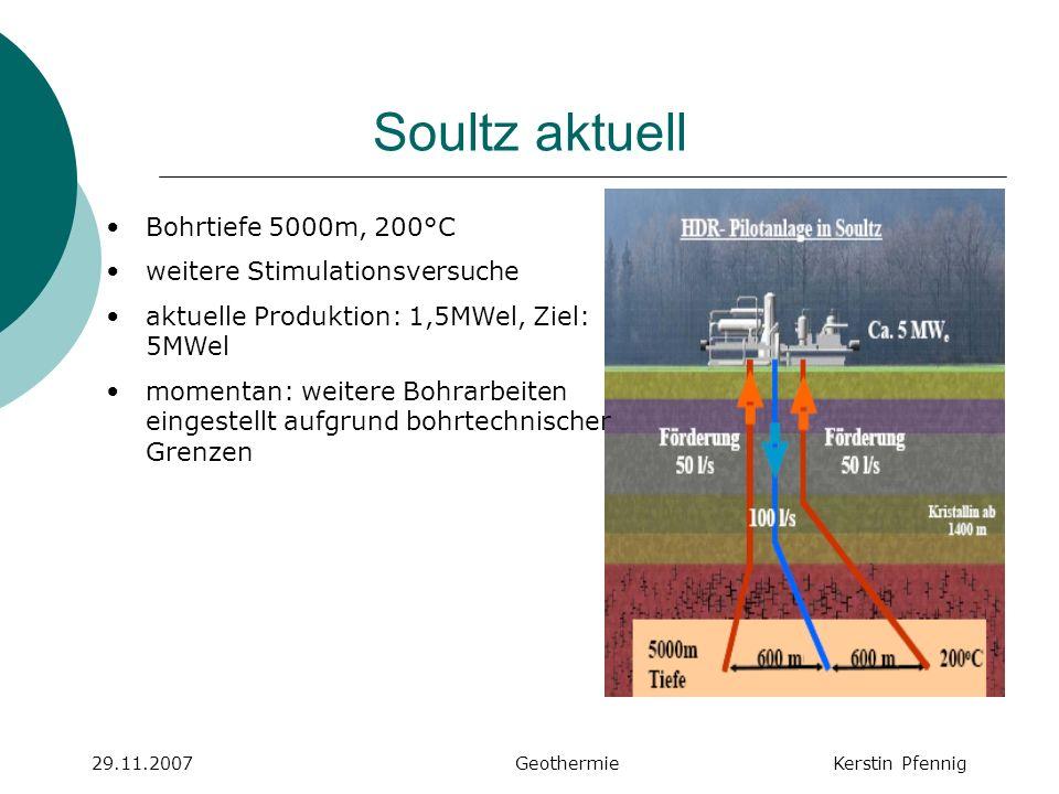 Soultz aktuell 29.11.2007 GeothermieKerstin Pfennig Bohrtiefe 5000m, 200°C weitere Stimulationsversuche aktuelle Produktion: 1,5MWel, Ziel: 5MWel mome