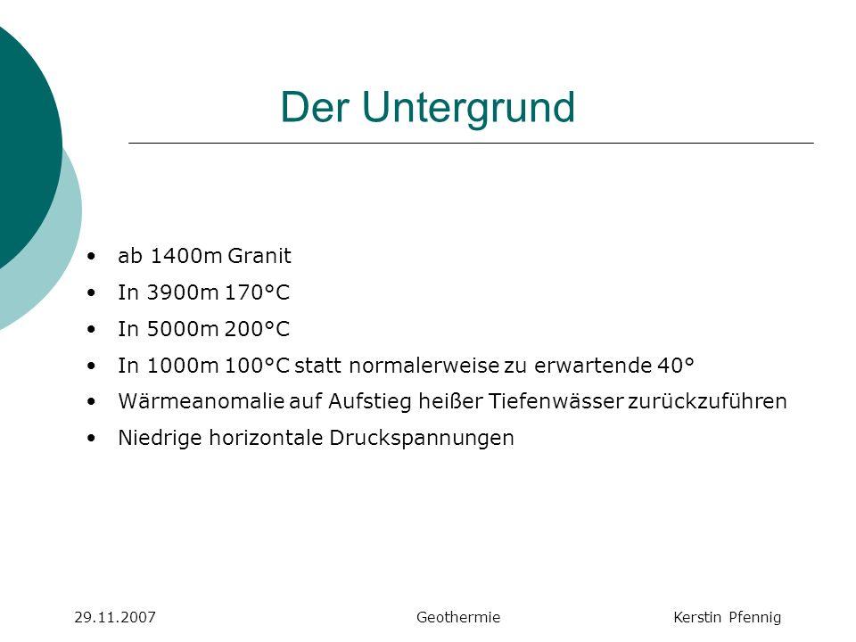 Der Untergrund 29.11.2007 GeothermieKerstin Pfennig ab 1400m Granit In 3900m 170°C In 5000m 200°C In 1000m 100°C statt normalerweise zu erwartende 40°