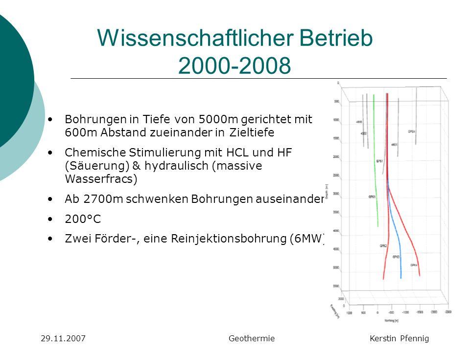 Soultz aktuell 29.11.2007 GeothermieKerstin Pfennig Bohrtiefe 5000m, 200°C weitere Stimulationsversuche aktuelle Produktion: 1,5MWel, Ziel: 5MWel momentan: weitere Bohrarbeiten eingestellt aufgrund bohrtechnischer Grenzen