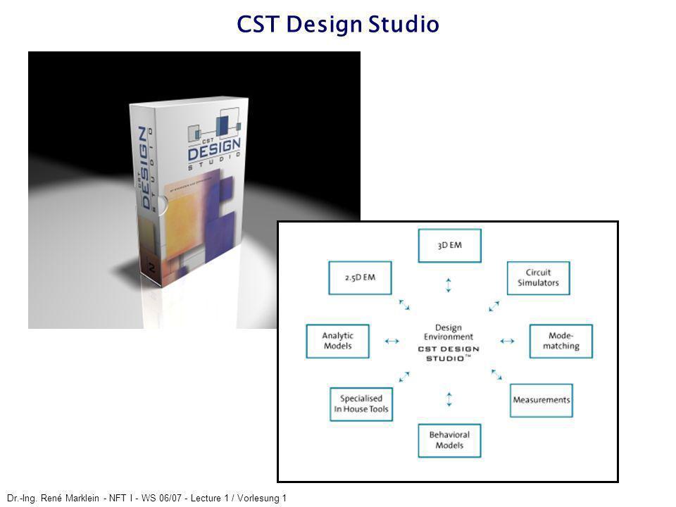 Dr.-Ing. René Marklein - NFT I - WS 06/07 - Lecture 1 / Vorlesung 1 CST Design Studio