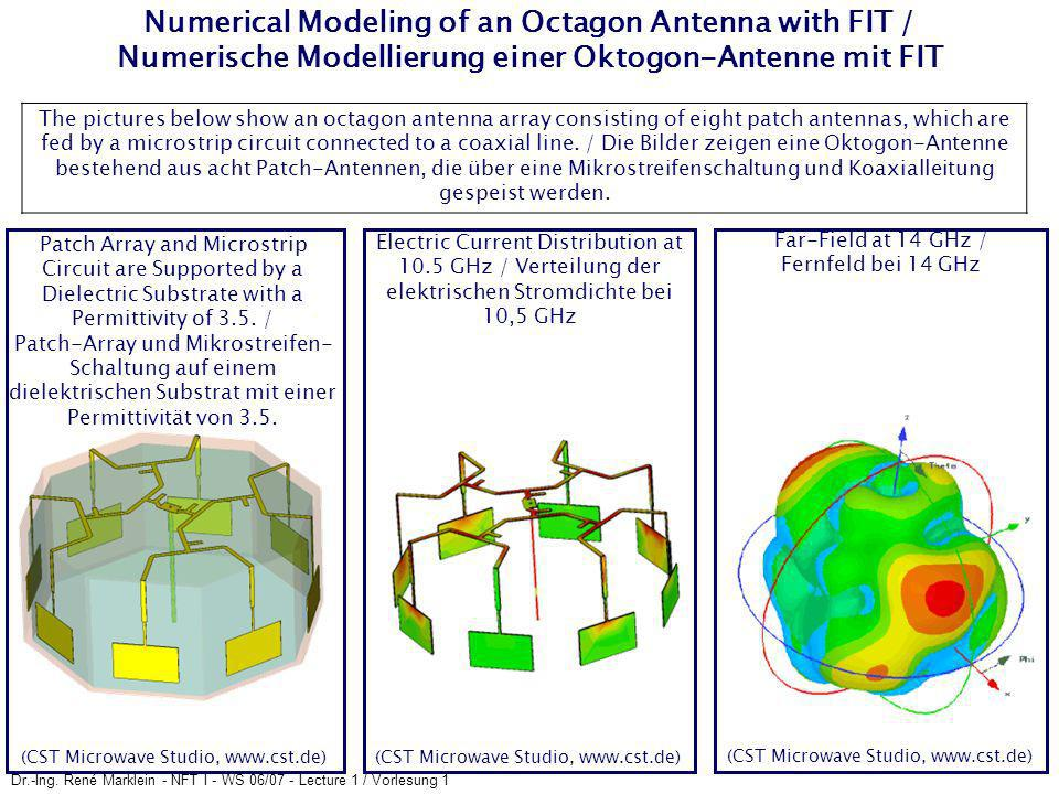 Dr.-Ing. René Marklein - NFT I - WS 06/07 - Lecture 1 / Vorlesung 1 Numerical Modeling of an Octagon Antenna with FIT / Numerische Modellierung einer